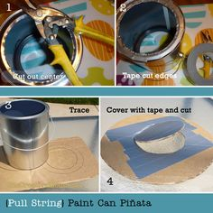 """Pull String Paint Can Pinata from OneCreativeMommy.com {Perfect for little ones at an art-themed party.  Every kid gets to """"break"""" the piñata at the same time.}"""