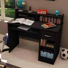 Simple Computer Desk in Dark Brown Chocolate Finish