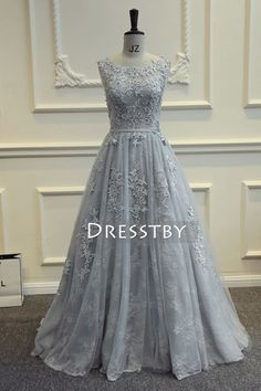 Gray round neck tulle lace long prom dress, bridesmaid dress