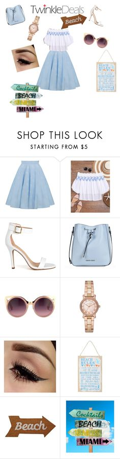 """""""to the beach"""" by empero ❤ liked on Polyvore featuring Armani Jeans, Erdem, Michael Kors, M&Co and Mud Pie"""
