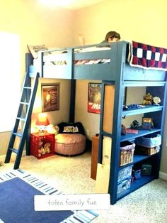 Loft Bunk Beds, Bunk Beds With Stairs, Kids Bunk Beds, Boys Bunk Bed Room Ideas, Kids Loft Bedrooms, Kids Beds Diy, Bed For Kids, Kids Rooms, Boys Bedroom Ideas 8 Year Old