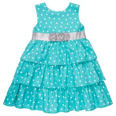 Polka dot ruffled dress--Picture how precious she'll be in this sleeveless, tiered ruffle woven dress that pairs perfectly with our cardigan sweater.