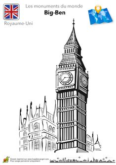 Coloriage royaume uni big ben sur Hugolescargot.com - Hugolescargot.com
