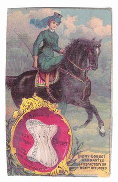 Trade Card, c1885...Lady Side-Saddle on Horse,....BALL'S CORSET,  Elizabeth, NJ