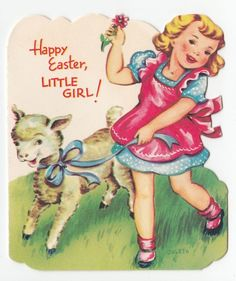 326 best vintage greeting easter images on pinterest vintage vintage greeting card easter cute little girl lamb sheep gibson coleta a401 m4hsunfo