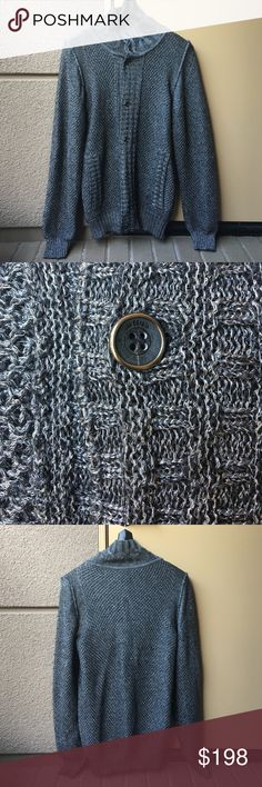 Just Cavalli men's cardigan Just Cavalli men's cardigan, label reads size 48, the owner wears us size small. Preloved, good condition!! Has beautiful silver shimmer Just Cavalli Sweaters Cardigan