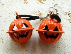 vintage Halloween jack-o-lantern bell dangle earrings