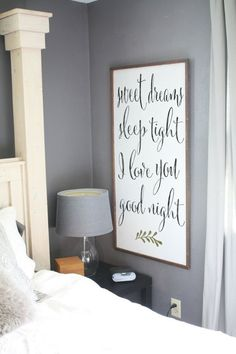 24x48 framed Sweet dreams sleep tight I love by SaltedWordsCompany
