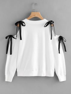 Fall round neck with bow tie pullover. This sweatshirt will also like a top with its hole on the shoulder. Perfect with jeans too! Open Shoulder Bow T… – Sweatshirt Girls Fashion Clothes, Teen Fashion Outfits, Girl Fashion, Fashion Dresses, Stylish Dresses, 80s Fashion, Fashion Fashion, Street Fashion, Womens Fashion