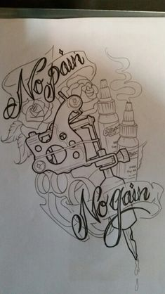 Custom Tattoo Machine design sketch by Brad Mallory Tried and True Tattoo Parlor.
