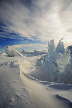 IMAGE: Polar landscape. Discuss how the climate (long term weather) of this area has shaped the natural landscape.