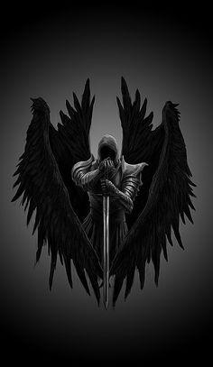 Angel Warrior Tattoo, Dark Angel Tattoo, Warrior Tattoos, Scary Wallpaper, Cute Black Wallpaper, Skull Wallpaper, Dark Phone Wallpapers, Dark Wallpaper Iphone, Dark Angel Wallpaper