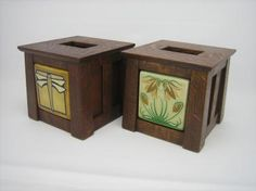 """This Tissue box cover, in the Craftsman style, is built with Tongue & Groove joinery and was designed to incorporate your favorite Pewabic Pottery or Motawi Tileworks art tile (sold separately). These tiles are artwork in and of themselves! Overall Dimensions: 6 1/2"""" x 7"""" x 7"""""""