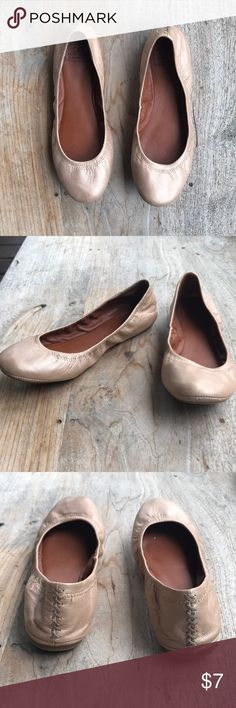 Lucky Brand flats Tan flats with a slight metallic/shine finish Lucky Brand Shoes Flats & Loafers
