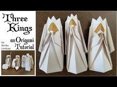 DIY Origami Christmas Nativity- The Three Kings – Origami 2020 Diy Origami, Origami Modular, Origami Ball, Origami Paper, Origami Envelope, Origami Boxes, Dollar Origami, Origami Nativity, Nativity Advent Calendar