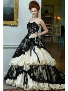 Wedding Dresses Pictures - A-Line Ball Gown Strapless Sweetheart Dropped Satin Taffeta Tulle Wedding Dress - Style WD6116