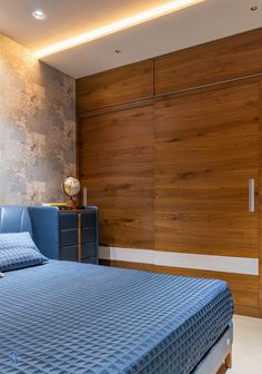 A Luxurious Vaastu Based Apartment With A Finite Material Palette | Kunal Shah Architects - The Architects Diary Apartment Projects, Apartment Interior, Apartment Design, Living Room Tv Unit Designs, Bedroom Cupboard Designs, Bedroom Furniture Design, Wardrobe Design, Full House, Modern Spaces