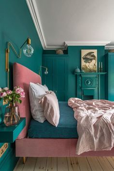 Loving this bright bedroom decor! This London Edwardian home was renovated into a contemporary, colorful, and eclectic family home that is both functional and fabulous for modern family life. for bedroom wohnung decoration dekorieren einrichten ideen Green Bedroom Decor, Bedroom Wall Colors, Teal Bedroom Walls, Blush Bedroom, Bedroom Romantic, Teal Walls, Bright Bedroom Colors, Teal Bedrooms, Best Colour For Bedroom