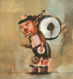 Stacy Innerst's delightful characters march to the beat of their own drum! You might not be able to tell in this picture, but he's used tin to make the art dimensional! #kidlit #StacyInnerst #ChildrensBookIllustration #ChemersGallery