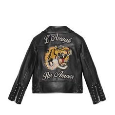 black leather jacket with an embroidered tiger and L'a - Gucci .children's black leather jacket with an embroidered tiger and L'a - Gucci . Gucci Baby Clothes, Luxury Baby Clothes, Cute Baby Clothes, Boys Leather Jacket, Gucci Leather Jacket, Velvet Dinner Jacket, Velour Jackets, Black And White Baby, Gucci Kids