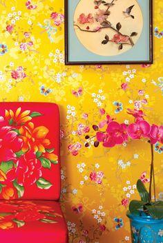 Papel pintado, flores, amarillo #wallpaper #flowers #yellow #pipstudio