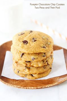 The BEST Pumpkin Chocolate Chip Cookie Recipe on twopeasandtheirpod.com #recipe
