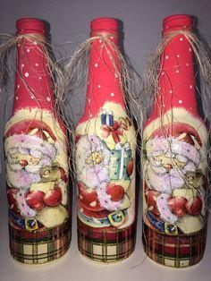 garrafas de natal decoradas - Pesquisa Google