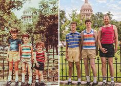 Three brothers 29 years apart (1984 – 2013, Texas) | Before And After: 30 Of The Most Creative Recreations Of Childhood Photos
