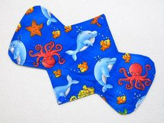"Ultrathin Waterproof 9.25"" Heavy - Happy Dolphins - Reusable Cloth Pad (9HUC)"