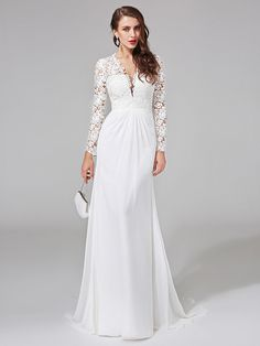 Lanting Bride® Sheath / Column Wedding Dress Sweep / Brush Train V-neck Chiffon / Lace - USD $99.99 ! HOT Product! A hot product at an incredible low price is now on sale! Come check it out along with other items like this. Get great discounts, earn Rewards and much more each time you shop with us!