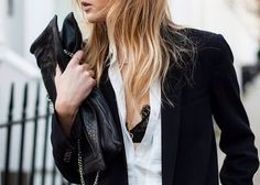 black bra / white shirt