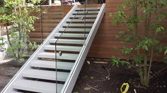 stainless steel glass rail fabricated and installed by Custom iron Craft out of Wilmington/Tewksbury Ma. Handicap Ramps, Balcony Railing, Fence Gate, Stairs, Iron, Stainless Steel, Craft, Glass, Stairway