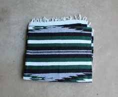 Vintage Mexican Blanket Evergreen Black White by QUIVERreclaimed