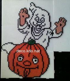 Halloween pumpkin ghost hama perler by DECO.KDO.NAT