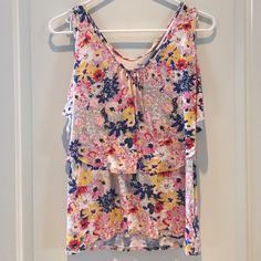 Old Navy Floral Ruffle Tank Top Shirt Gently used, great condition.  Stretchy. Old Navy Tops Tank Tops