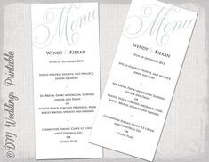 Diy Printable Wedding Menu Template Tea Length By Weddingsbyjaniev