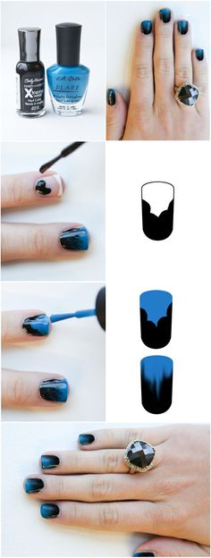 blue to black ombre nails.