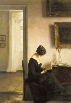 Woman Reading in an Interior. Carl Vilhelm Holsoe (Danish, 1863-1935).: