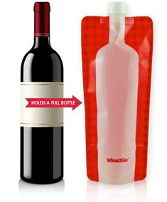 When glass is off-limits but wine is a necessity, you can stash your favorite alcoholic beverage in Wine2Go's foldable plastic wine bottles. Disaster averted.
