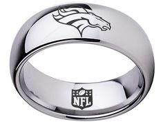 Kansas City Chiefs Ring Silver ring Tungsten Ring, sizes 5 - 16 available. Customize with a special name, date or message on the inside of the band. Kansas City Chiefs Football, Broncos Fans, Kc Football, Denver Broncos Schedule, Super Bowl 54, Travis Kelce, Cincinnati Bengals, Tungsten Carbide, Nfl