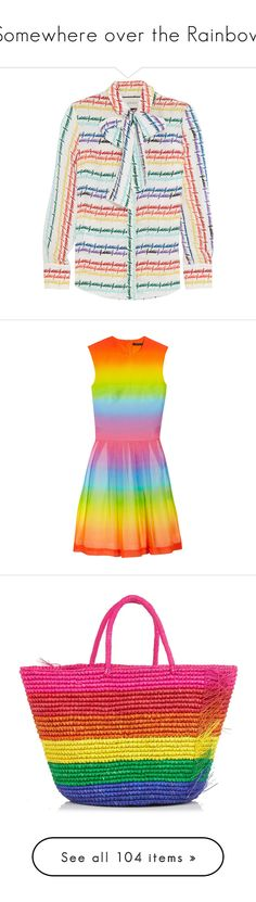 """""""Somewhere over the Rainbow"""" by saint-mercy ❤ liked on Polyvore featuring tops, gucci, silk shirt, gucci shirts, multicolor shirt, colorful shirts, gucci tops, dresses, rainbow and vestidos"""