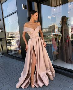 Elegant Off the Shoulder Party Gown Satin Sexy Prom Dress High Slit Party Dress Sexy, Prom Dresses, A-Line Party Dress Prom Dresses 2020 Burgundy Homecoming Dresses, Pretty Prom Dresses, V Neck Prom Dresses, Ball Dresses, Sexy Dresses, Summer Dresses, Dress Prom, Awesome Dresses, Gown Dress