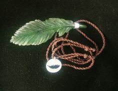 Feather.  Pounamu/NZ jade, silver.