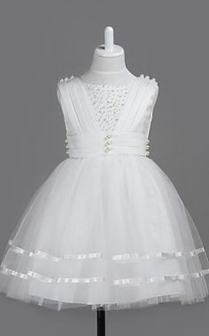 Bola vestido de cetim Sleevess E Tull vestido da menina flor – USD $ 39.99