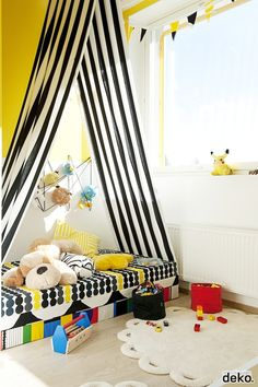If no teepee then just hang fabric from sealing... Cute reading nook