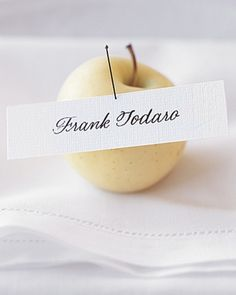 Apple Place Card and other really simple and classic ideas. (place card tucked into the tines of a fork)