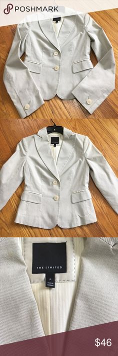 Biz casual pin stripe blazer from The Limited Cute little blazer from The Limited. Size 0.  Barely worn.  Dark grey/tab pin stripes.  Can dress it up with a cute top and biz casual pants or pair with jeans for fun or casual days at work.  Recently dry cleaned.  Smoke free home The Limited Jackets & Coats Blazers