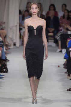 Strapless Heart Shaped Neckline Black Dress by Oscar de la Renta RTW Spring 2016