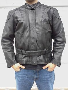 Vintage Heavy Black Leather Motorcycle Jacket With Belt #vintageleather #leatherjackets #vintage #instagram #etsy