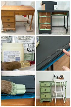 Salvaged Inspirations   Here's how I transformed a Salvaged Desk with 2 tones of Milk Paint and Distressed with Vaseline. Saved me a ton of time on sanding and has a really nice chippy/distressed effect.
